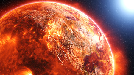 cataclysm: Earth burning or exploding after a global disaster, apocalyptic scenario. Elements of this 3d rendered image furnished by NASA Stock Photo