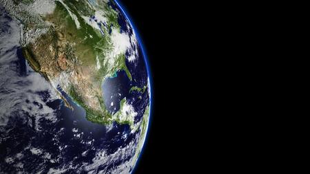 Planeet Aarde in het universum of de ruimte, de aarde en de melkweg in een nevel wolk Elementen van deze teruggegeven beeld 3d geleverd door NASA