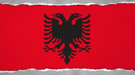 albanian: Flag of Albania, Albanian flag painted on paper texture