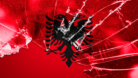 albanian: Flag of Albania, Albanian flag painted on broken glass