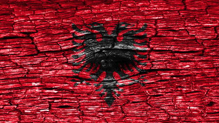 albanian: Flag of Albania, Albanian flag painted on wood Stock Photo