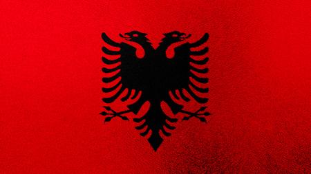 albanian: Flag of Albania, Albanian flag painted on glass Stock Photo