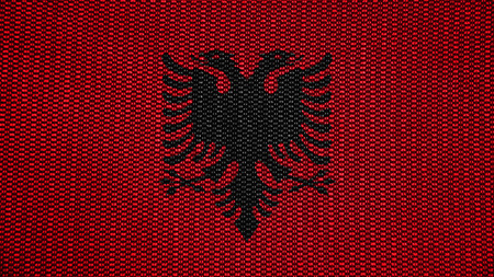 red cross red bird: Flag of Albania, Albanian flag painted on stich texture