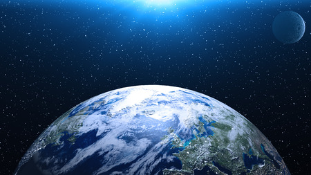 Planet Earth in space. Globe in galaxy. Banco de Imagens