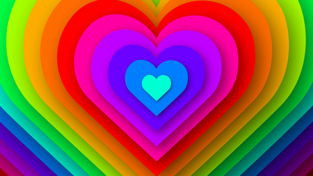 Colorful love hearts expanding.