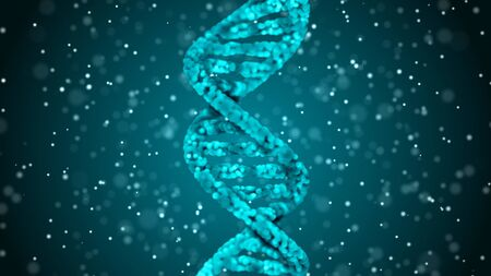 DNA. Abstract 3d polygonal wireframe DNA molecule helix spiral. Medical science background.
