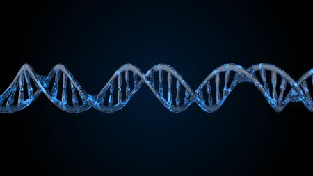 DNA code. Abstract 3d polygonal wireframe DNA molecule helix spiral Imagens