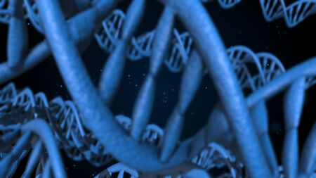 DNA code. Abstract 3d polygonal wireframe DNA molecule helix spiral Stockfoto