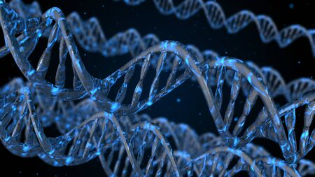 DNA code. Abstract 3d polygonal wireframe DNA molecule helix spiral.