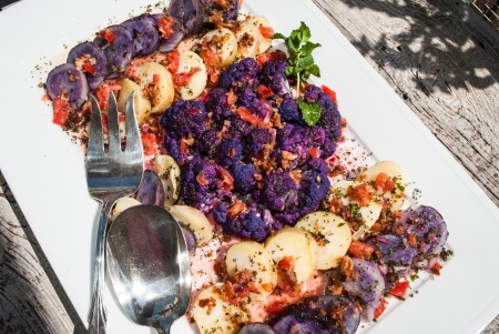 Cold composed salad of gluten free purple and white potatoes and cauliflower with viniagrette al fresco Stock Photo