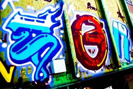 brigt: brigt colorful graffiti spraypainted on a railway car on the tracks under a sunny day