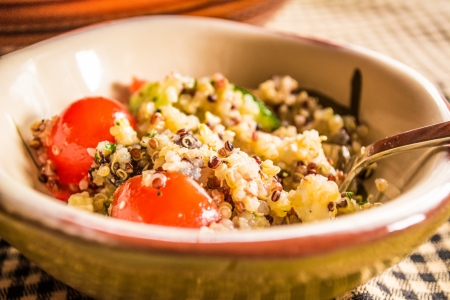 Healthy fresh, quinoa, tomato, zucchini salad  photo