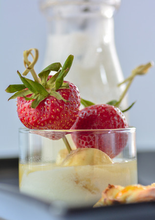 Strawberry fruit skewers with apple tart and kefir