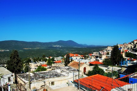 kabbalah: Safed old city in Israel with Miron mountain