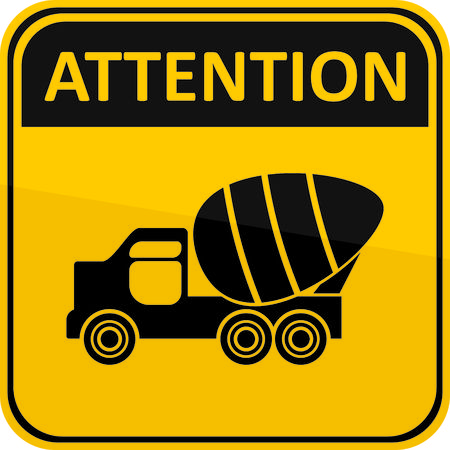 yellow attention: yellow attention sign with cement mixer Illustration