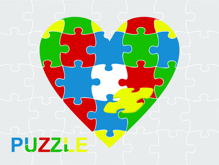 heart puzzle: Puzzle Heart Illustration