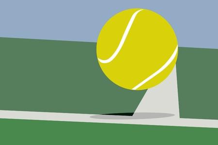 テニスボールとコート  イラスト・ベクター素材