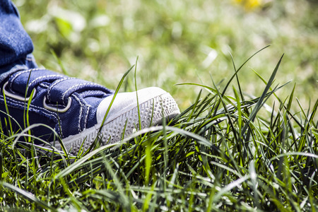 stepped: boy stepped on the grass