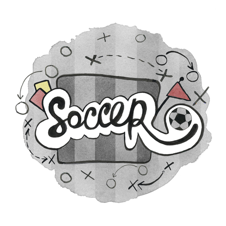 The word soccer handdrawn typo theme painted in watercolor ink on a monochome field as background. Football theme watercolor and ink mixed.