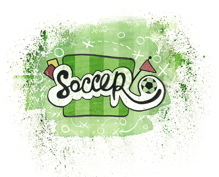 The word soccer handdrawn typo theme painted in watercolor ink on a green painted field as background. Football theme watercolor and ink mixed.