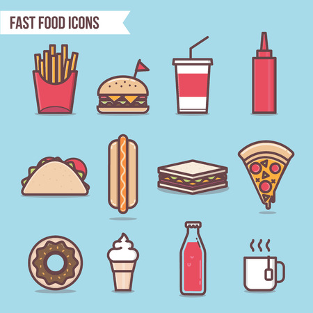 foodstuffs: fast food flat design elements and icons set vector. Pizza, Hot Dog, Hamburger, Tacos, Ice cream, Cola and Donut