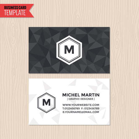 namecard: Business card modern triangle clean design template vector