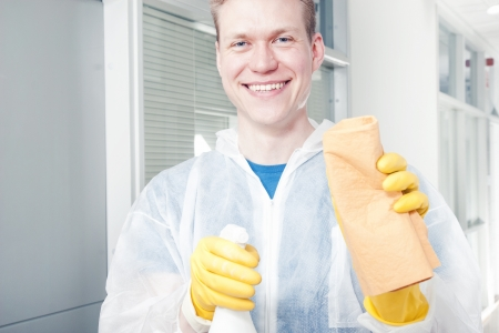Smiling office cleaner man photo