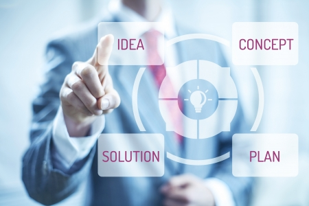 Selecting idea and plan of success concept