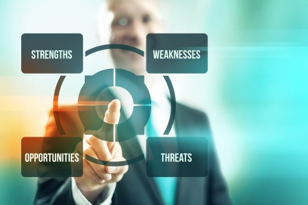 weaknesses: Swot analysis concept business man pointing finger Stock Photo