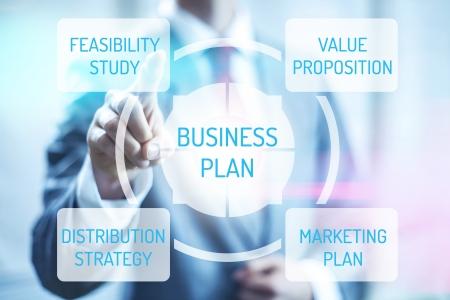 media distribution: Business plan concept man touching virtual screen selecting plan Stock Photo