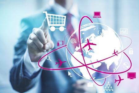selecting: Online shopping concept man selecting shopping cart Stock Photo