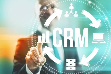 Customer relationship management concept man selecting CRM Standard-Bild