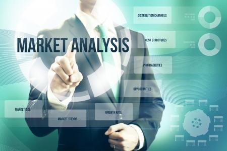 Marktanalyse concept man bedrijfskeuzeplan Stockfoto