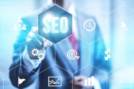 search engine optimization: Search optimization business pointing finnger selecting seo
