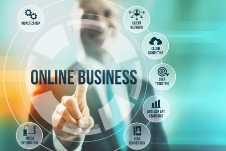touching hands: Business man selecting online business concepts