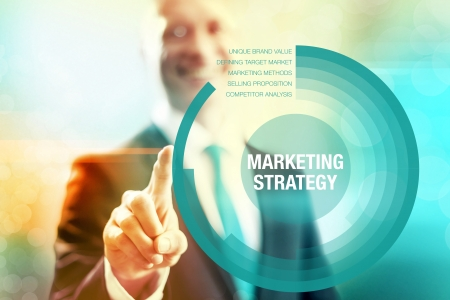 selecting: Marketing strategy business concept pointing and selecting
