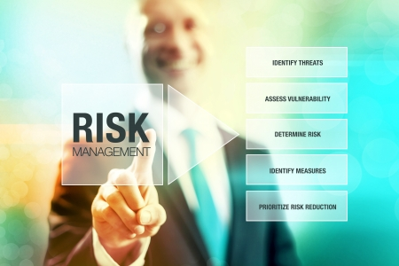 risk management: Business risk management concept man pointing interface Stock Photo