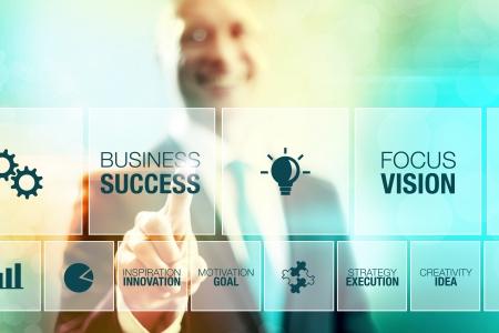 Business man selecteren succesconcept aanwijsapparaat-interface
