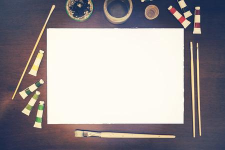 Art presentatie mockup leeg doek - neem uw eigen kunst Stockfoto