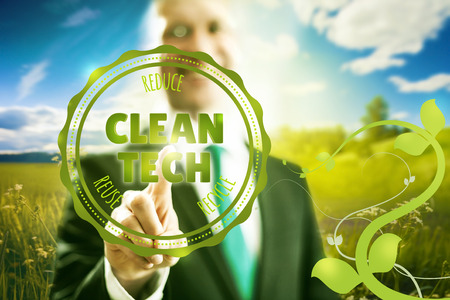 cleantech: Pressing virtual screen clean technology business concept - waste hierarchy