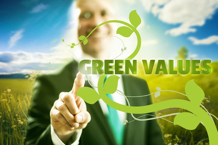 corporate waste: Pressing virtual screen choosing green values, , clean technology