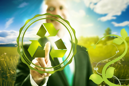 cleantech: Pressing virtual screen selecting recycle symbol, , clean technology