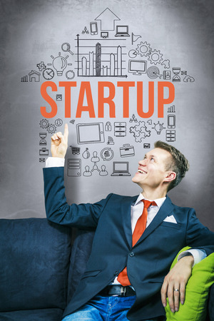 start up: Startup company idea concept, pointing up