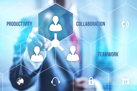 productive: Collaboration teamwork concept pointing finger