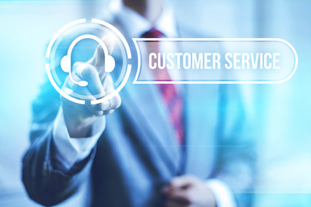 touching hands: Customer service concept pointing finger Stock Photo