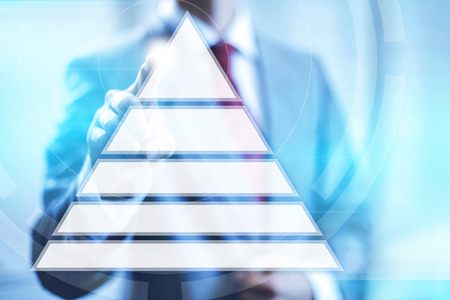 Hierarchy on needs pyramid concept pointing finger photo