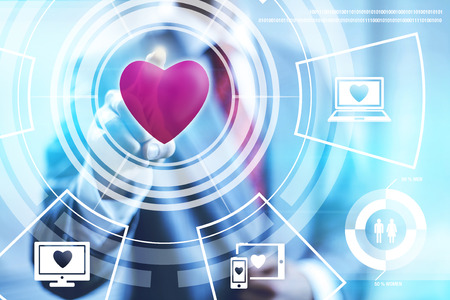 abstract love: Online dating technology concept pointing finger