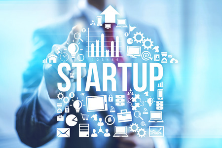 Startup business concept pointing finger
