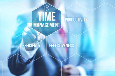 communication tools: Time management concept pointing finger Stock Photo