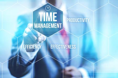 Time management concept pointing finger Standard-Bild